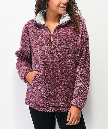 Angel Kiss Burgundy Sherpa Half Zip Sweater