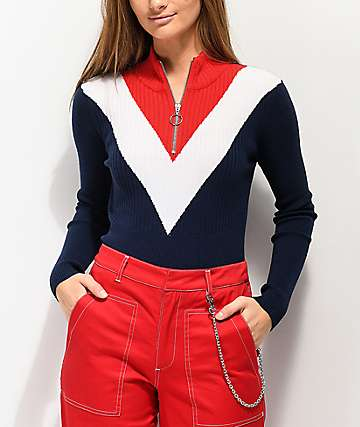 Angel Kiss Mock Half Zip Red, White & Blue Sweater