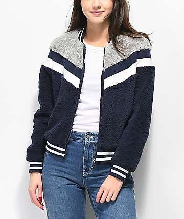 Angel Kiss Sherpa Blue & Grey Stripe Jacket