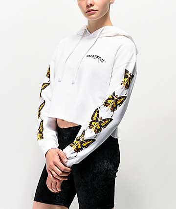 Anonymous Butterfly sudadera con capucha blanca