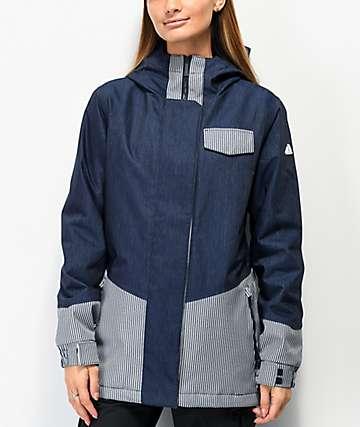 Aperture Capitol 10K chaqueta de snowboard de mezclilla azul de rayas