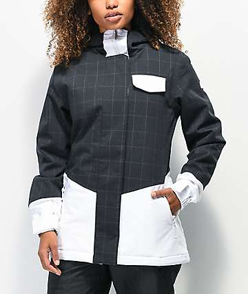 Aperture Capitol White & Black Plaid 10K Snowboard Jacket