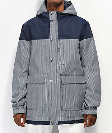 Aperture Double Diamond Rail Navy Stripe 10K Snowboard Jacket