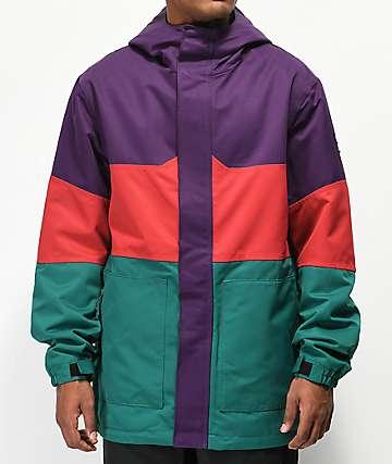 Aperture Peak 10K chaqueta de snowboard morada, roja y verde