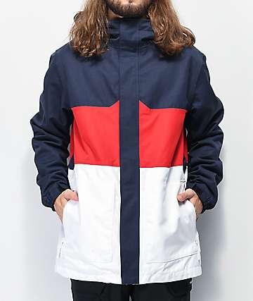 Aperture Peak 10K chaqueta de snowboard roja, blanca y azul