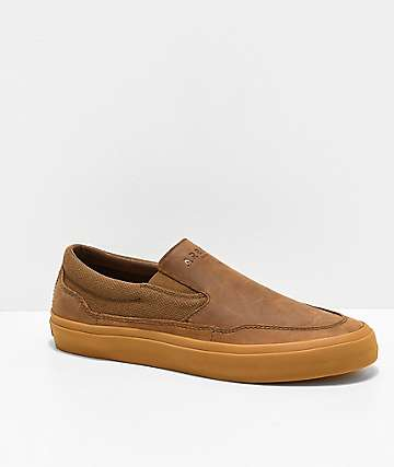 Arbor Venice LX Brown Leather & Gum Slip-On Skate Shoes