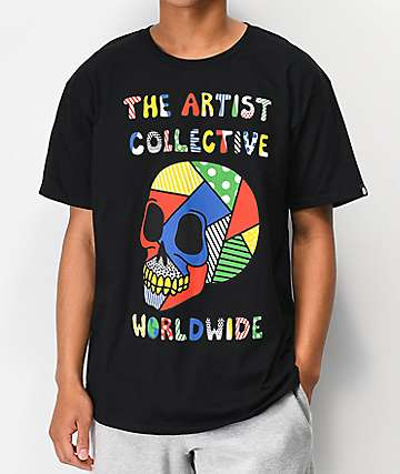 Artist Collective Color Skull Black T-Shirt