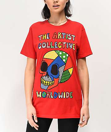 Artist Collective Color Skull Red T-Shirt