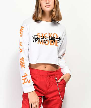 Artist Collective Sicko Mode White Crop Long Sleeve T-Shirt