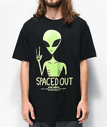 Artist Collective Spaced Out Glow In The Dark Black T-Shirt