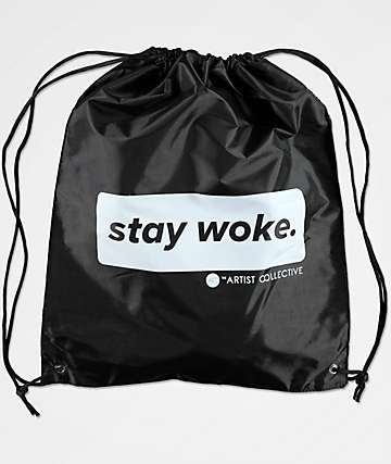 Artist Collective Stay Woke Louis Black Cinch Bag