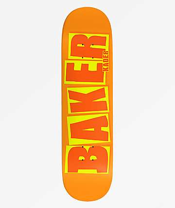 "Baker Kader Brand Name 8.25"" Orange Skateboard Deck"