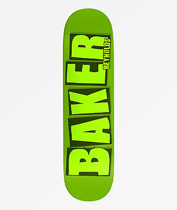 "Baker Reynolds Brand Name 8.12"" Green Skateboard Deck"
