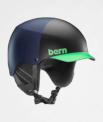 Bern Baker Blue, Black & Green Snowboard Helmet