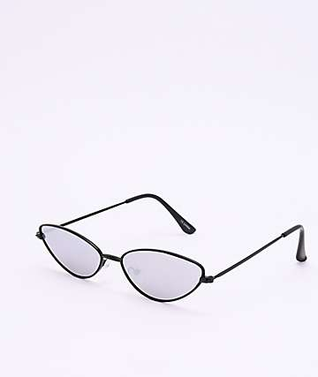 Black & Mirror Mini Cateye Sunglasses