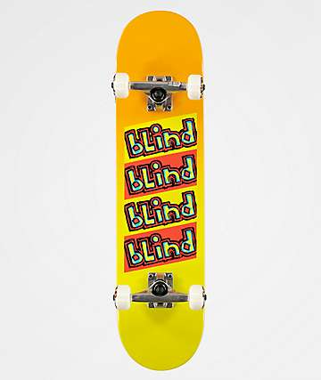 "Blind Incline First Push Yellow Fade 7.62"" Skateboard Complete"
