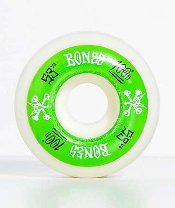 Bones 100 Ringers 53mm ruedas de skate verdes y blancas