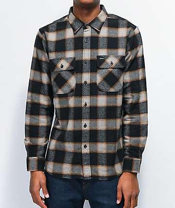 Brixton Bowery Black & Cream Flannel Shirt