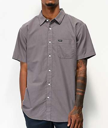 Brixton Charter Charcoal Short Sleeve Button Up Shirt
