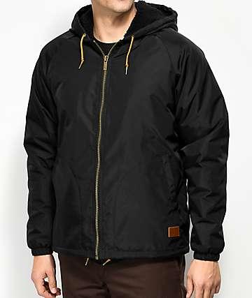 Brixton Claxton Sherpa Lined Black Hooded Jacket