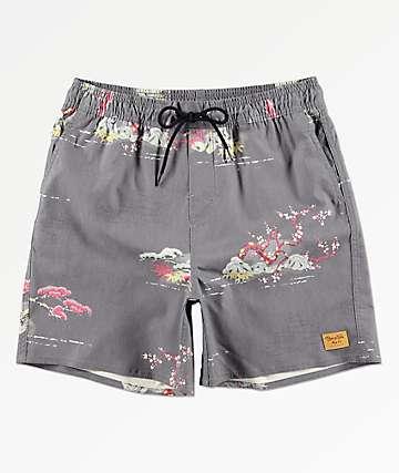 Brixton Havana Trunk shorts híbridos grises con cintura elástica