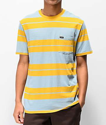 Brixton Hilt Gold & Blue Striped Pocket T-Shirt