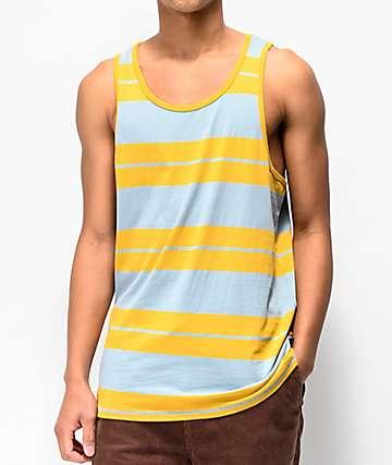 Brixton Hilt Gold & Blue Striped Tank Top