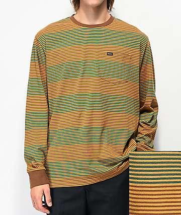 Brixton Hilt camiseta de manga larga marrón de rayas