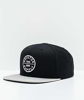 Brixton Oath III Black & Grey Snapback Hat