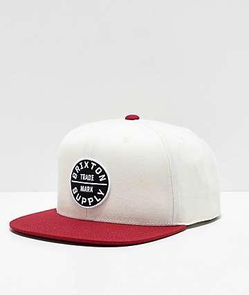 Brixton Oath III White & Burgundy Snapback Hat