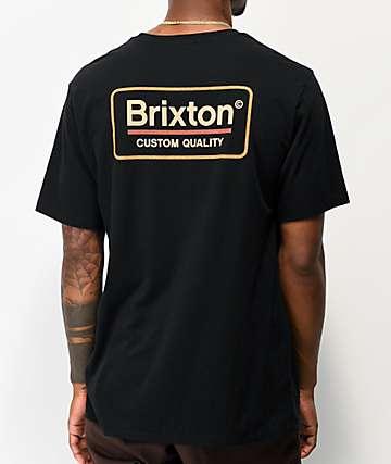 Brixton Palmer Black & Orange T-Shirt