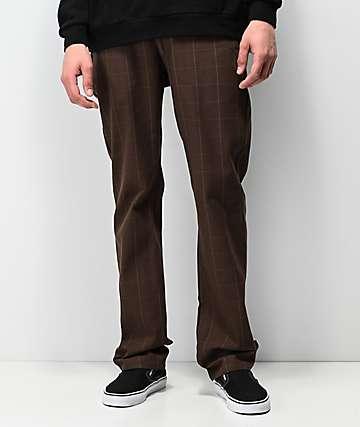 Brixton Reserve pantalones chinos de tartán marrón