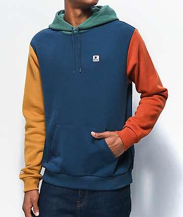 Brixton Stowell VII Blue & Orange Colorblock Hoodie