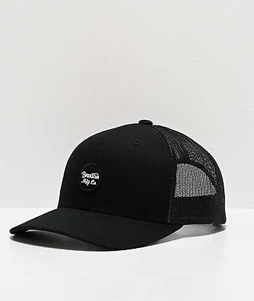 Brixton Wheeler Black Mesh Snapback Hat