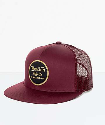 Brixton Wheeler Burgundy Trucker Hat