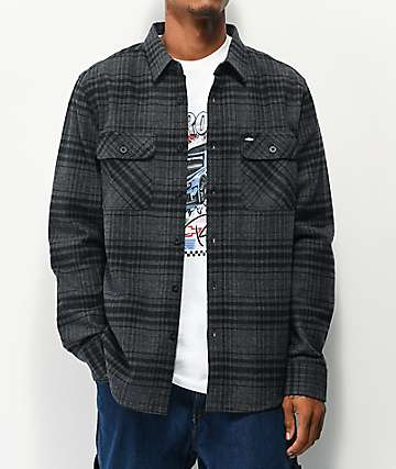 Brixton x Chevrolet Bowery Grey & Black Flannel Shirt