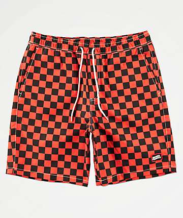Broken Promises Checkered Past Red & Black Elastic Waist Shorts