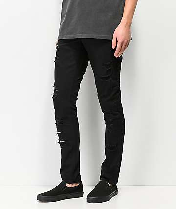 Broken Promises Dilated Distressed Black Denim Skinny Jeans