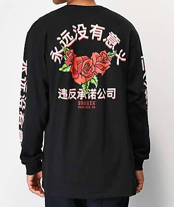 Broken Promises Forever Kanji Black Long Sleeve T-Shirt