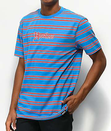 Broken Promises Heartless Blue & Red Stripe Knit T-Shirt