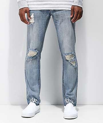 Broken Promises Lovesick Raw Hem Blue Denim Skinny Jeans