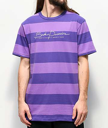 Broken Promises Post Script Block Purple Striped T-Shirt