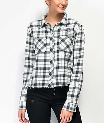 Broken Promises Thornless Black & White Cropped Flannel