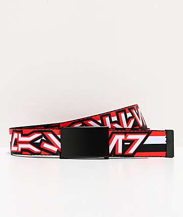 Buckle Down Aurebesh Stripe Red & Black Web Belt