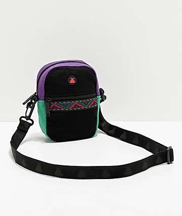 Bumbag Java bolso de hombro negro, morado y verde azulado