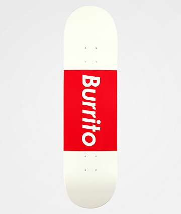 "Burrito Logo Grande 8.25"" Red & White Skateboard Deck"