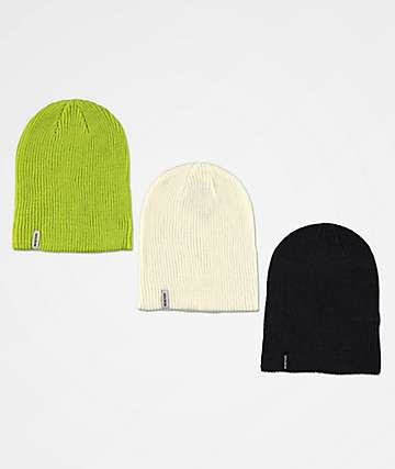 Burton DND Black, White, & Tender Shoots 3 Pack Beanies