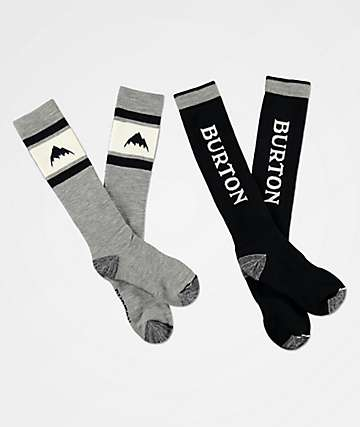 Burton Weekend Midweight Black & Grey 2 Pack Snowboard Socks