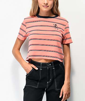 By Samii Ryan Adored Skim Pink Striped Crop T-Shirt