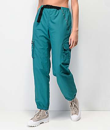 By Samii Ryan Bad Habits Turquoise Crinkle Track Pants